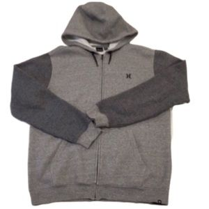 HURLEY Grey Raglan Full Zip Hoodie Jacket L/XL